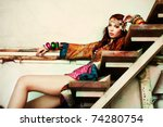 young woman in colorfull summer ... | Shutterstock . vector #74280754