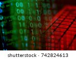 financial data on a monitor.... | Shutterstock . vector #742824613