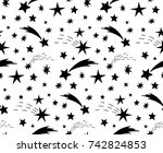 seamless pattern with black... | Shutterstock .eps vector #742824853