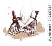 hand drawn sketch. hands women... | Shutterstock .eps vector #742827397