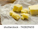 parmesan cheese on parchment... | Shutterstock . vector #742829653