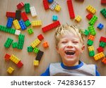 happy cute little boy love... | Shutterstock . vector #742836157
