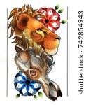 watercolor artwork handmade on... | Shutterstock . vector #742854943