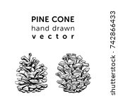 pine cones in simple style for... | Shutterstock .eps vector #742866433