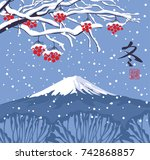 vector illustration of a winter ... | Shutterstock .eps vector #742868857