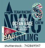 yacht club racing sailing... | Shutterstock .eps vector #742869547
