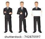 business man in black suit in... | Shutterstock .eps vector #742870597