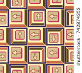 seamless abstract pattern with... | Shutterstock .eps vector #742874353