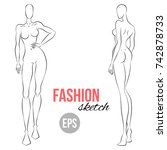 women's figure sketch.... | Shutterstock .eps vector #742878733
