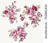 Stock vector set of vintage bouquet of roses floral design and decoration elements raster version 742882333