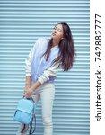 attractive asian woman portrait ... | Shutterstock . vector #742882777