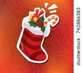 vector cartoon style christmas... | Shutterstock .eps vector #742886383