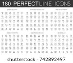 180 Modern Thin Line Icons Set...