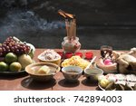 sacrificial offering food for... | Shutterstock . vector #742894003