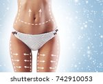 fit and sporty woman with... | Shutterstock . vector #742910053