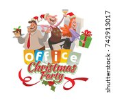 "vector office emblem ""christmas ... | Shutterstock .eps vector #742913017"