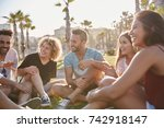 group of friends sitting... | Shutterstock . vector #742918147