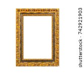 golden wooden frame on a white... | Shutterstock . vector #742921903