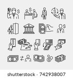 money icons set  | Shutterstock .eps vector #742938007