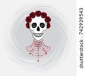 Skull Female With Flowers Rose...
