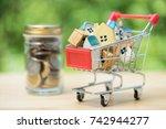 house models stacking on...   Shutterstock . vector #742944277