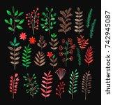 watercolor flowering herbs set  ... | Shutterstock . vector #742945087