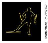 snowboarding line icon vector | Shutterstock .eps vector #742949467