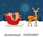 santa's sleigh with presents... | Shutterstock .eps vector #742953907