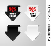set of isolated sale stickers.... | Shutterstock .eps vector #742956763