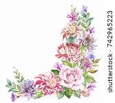 vintage flowers corner... | Shutterstock . vector #742965223