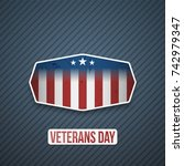veterans day text on realistic... | Shutterstock .eps vector #742979347