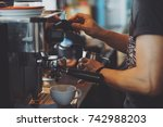 barista make coffee espresso... | Shutterstock . vector #742988203