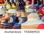 hat  available at  flea market. ... | Shutterstock . vector #743000923