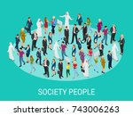society isometric background... | Shutterstock .eps vector #743006263