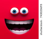 mouth of character on a red... | Shutterstock . vector #743020693