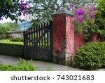 detail wooden door access to... | Shutterstock . vector #743021683