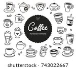 coffee theme hand drawn vector... | Shutterstock .eps vector #743022667