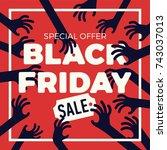 funny vector black friday sale  ... | Shutterstock .eps vector #743037013