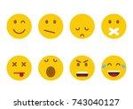 set of emoticons. set of emoji. ... | Shutterstock .eps vector #743040127