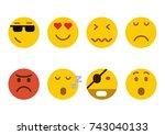 set of emoticons. set of emoji. ... | Shutterstock .eps vector #743040133