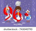 two goose holding the number 96....   Shutterstock .eps vector #743040793