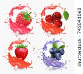 forest berries juice splash... | Shutterstock .eps vector #743041063
