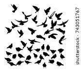 vector silhouette of a pigeons...   Shutterstock .eps vector #743051767