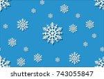 snow flake seamless pattern... | Shutterstock .eps vector #743055847