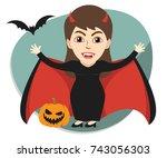 girl or woman  celebrating the... | Shutterstock .eps vector #743056303