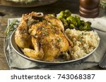 herby baked cornish game hens... | Shutterstock . vector #743068387