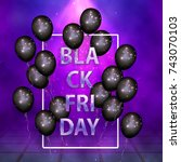 black friday  sale. text and... | Shutterstock .eps vector #743070103