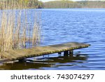 poland  lake landscape with... | Shutterstock . vector #743074297