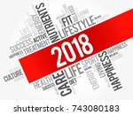 2018 word cloud collage  health ... | Shutterstock . vector #743080183