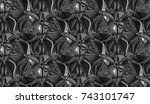 3d geometry black chrome tiles. ... | Shutterstock . vector #743101747